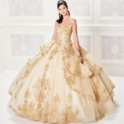 Champagne Ball Gown Quinceanera Dresses Lace Bodice Corset Back Gold Appliqued Sequins Prom Gown Custom Made Wedding Guest Dress