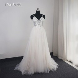 Dot Tulle Beach Wedding Dress Spaghetti Pearl Beaded Strap Bridal Gown