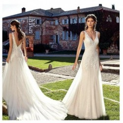 Double Shoulder V Neck Ivory Wedding Dresses 2019 White A line Floor Length Train Illusion bridal Dress Wedding GownS