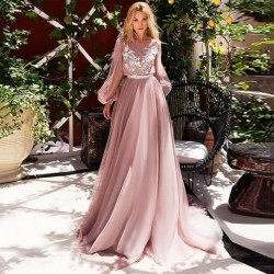 Eightree Pink Wedding Dresses Lace Appliques Puff Long Sleeves Bride Dress  A-Line Boho Wedding Gown 2020 vestido de noiva