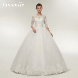 Fansmile Real Photo Vintage Lace Up Ball Wedding Dresses 2020 Customized Plus Size Bridal Wedding Gowns Free Shipping FSM-145F