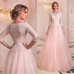 Fashionable Tulle & Lace Jewel Neckline A-line Wedding Dresses With Belt Lace Bridal Gowns Illusion Robe De Mariage Floor Length