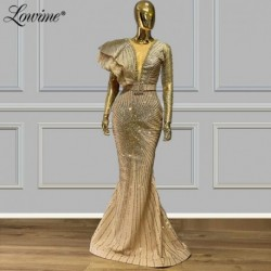 Glitter Long Sleeves Evening Dresses 2020 Mermaid Wedding Party Dress Saudi Arabia Formal Dress Women Prom Gowns Abendkleider