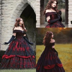 Gothic Belle Red Black Lace Wedding Gown Vintage Lace-up Corset Strapless Tiered Beauty Off Shoulder Plus Size Bridal Gown