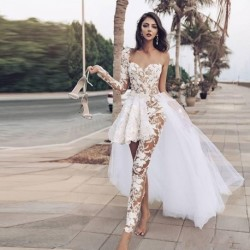 Jumpsuits Boho Wedding Dresses Lace Appliques One Shoulder Lace Overskirts Wedding Dress With Pants See Through robe de mariee