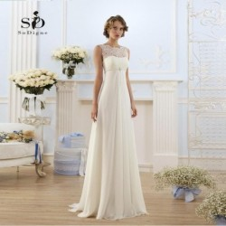 Lace Wedding Dress Pregnant White/Ivory Simple Chiffon Bridal Dress Empire Lace-up New Arrival Formal  African wedding Dress