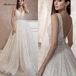 Lakshmigown Bling Bling Open Back A Line Wedding Dress 2019 Vestidos de Novia Sexy Bridal Gown Plunging Wedding Gowns Long Train
