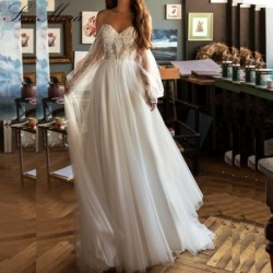 Lakshmigown Simple Boho Long Sleeve Wedding Dress Beach 2019 New Mariage Sexy Tulle Lace Bridal Dresses Princess Wedding Dress