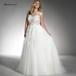 Lakshmigown White Tulle Wedding Dress Plus Size Bridal Gown 2019 Sheer Lace Appliqued Sexy Women Wedding Gowns Robe de Mariage