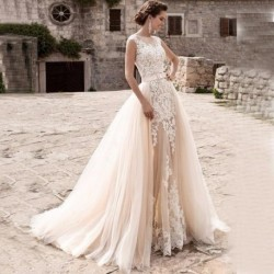 Long Mermaid Lace Wedding Dresses 2020 with Tulle Detachable Train for Bride vestido de noiva Ball Gown