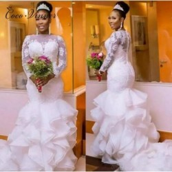 Long Sleeve Button Back Ruffles Tiered Mermaid Wedding Dress African White Color Plus Size Bride Marriage Wedding Dresses W0397