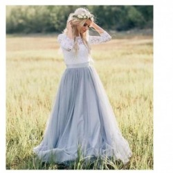 LORIE Fairy Boho Wedding Dress Lace long Sleeves Tulle Simple Princess Bride Dress 2 Sets Pieces Custom Made Wedding Gown 2019
