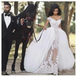 Luxury African Wedding Dresses Ball Gown Appliques Detachable Train Classical 2020 Elegant Formal Bride Dress