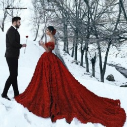 Luxury Red Lace Foral Wedding Dresses in Turkey Lakshmigown 2020 Dentelle Mariage Sexy Bridal Dress Wedding Gowns Long Train