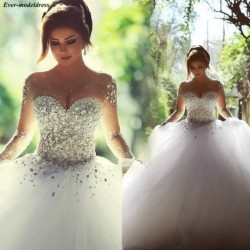 Luxury Saudi Arabic Ball Gown Wedding Dresses Illusion Beaded Crystals Sequined Dubai Bridal Gowns Vestido De Noiva Princesa