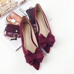 2019 Autumn New Bow Pointed Toe Flat Shoes Women Wedding Shoes Flock Leather Big Bowknot Solid Color Plus Small Size 33 34 43 44