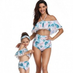 2019 new family matching parent-child swimsuit mother daughter swimsuit split printing high waist bikini