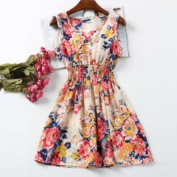 20 Colors Casual Women Sexy Chiffon Dress Sleeveless Sundress Print Beach Floral Tank Mini Dresses Vestidos