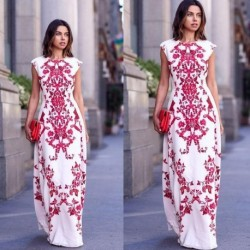 2018 Latest Style Summer Women's Elegant Floral Embroidery Sleeveless Boho Long Maxi Evening Party Vintage Dress Beach Wear