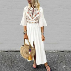 2019 Boho Style Women's Long Sleeve O-Neck Beach Embroidered Floral Maxi Dress Cotton Casual Linen Kaftan Maxi Dress