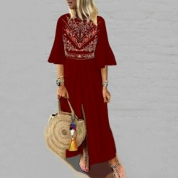 2019 NEW FASHION Women Cotton Linen Maxi Dress Open Neckline Ruffle Short Sleeve Casual Boho Kaftan Tunic Plus Size Long Dress