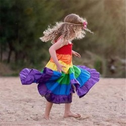 2019 Rainbow Newborn Kids Baby Girl Clothes Childre's Tutu Dress Pageant Party Princess Long Maxi Dress Toddler Outfits Sundress