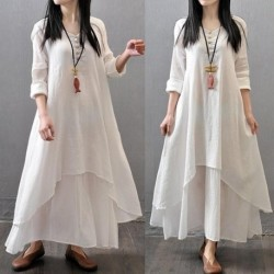 2020 AU Women Peasant Ethnic Boho Cotton Linen Long Sleeve Maxi Dress Gypsy Dresses Large Swing Linen Loose Cotton Dresses