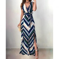2020 Autumn Women Elegant Vintage Long Party Dress Female Tunic V-Neck Wrapped Chevron Stripes Backless Belted Slit Maxi Dress