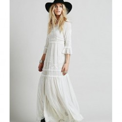 2020 new free shipping Bohemia embroidery maxi dress women's white ruffles elegant sweet long loose dress fashion party dresses