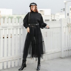 2020 New Spring Summer Fashion Women Dress Vintage Befree Lantern Sleeve High Waist Bandage Mesh See-through gothic Black Maxi