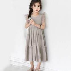 2020 new summer girls dress korea style princess party dresses teenager mesh sleeve patchwork cake dress cute children clothing
