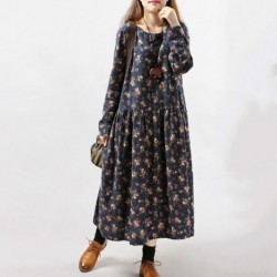 2020 New Women Dresses Autumn Winter Vintage Print Casual Long Sleeve Retro Cotton Maxi Robe Tunic Floral Big Plus Size Dress