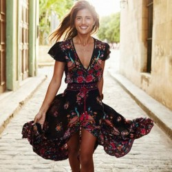 2020 New Women Summer V Neck Vintage Boho Long Maxi Floral National Chiffon Dress Party Beach Dress Floral Sundress
