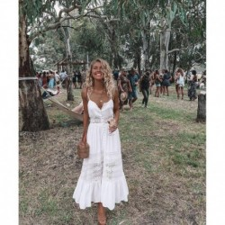 2020 Sexy Lace Strapless Women's Dress Solid Color Backless Long White Dress Sweet Princess Beach Dress Patchwork Boho Dresses
