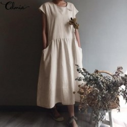 2020 Summer Celmia Women Dress Vintage Linen Pleated Long Shirt Sundress Casual Short Sleeve Loose Maxi Vestidos Robe Plus Size
