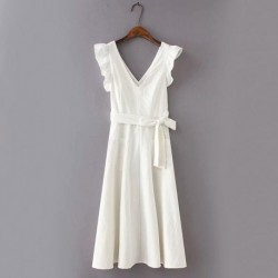 2020 Summer Cotton and Linen White Maxi Dress with Pockets Women Back Hollow Out Belt Ruffles Tank Dress Sexy V-Neck Vestidos