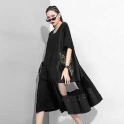 2020 Summer Short Sleeve Sequins Tassel Splice Punk Gothic Dress Women Loose Casual Streetwear Big Size Rivet Black Long Dress