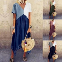 2020 Women Casual Loose Dress Colors Summer Patchwork Boho Bow Camis Befree Maxi Dress Plus Sizes Big Large Dresses Robe Femme