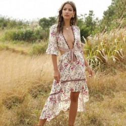 2020 Women Print Summer Casual Irregular Dress sweet Sexy  V Neck Backless flare sleeve Dress Retro Party Boho Beach Maxi Dress