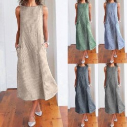 2020 Women Summer Dress  Casual Striped Sleeveless Maxi Dress Crew Neck Linen Pocket Party  Long Dresses