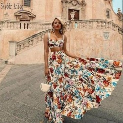 2020 Women Two Piece Set Summer Dress Vintage Printed Sleeveless Boho Maxi Dress Plus Size 3XL Elegant Party Dress Sexy Vestidos
