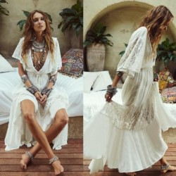 2020 Women's New Cotton Lace Dress Beach Style Sweet Summer Maxi Dress Solid V-neck Ankle Length Holiday Dress Ethnic Boho Dress