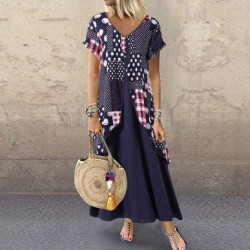 2020 ZANZEA  Maxi Long Dress Autumn Summer Dress Women Polka Dot Print Patchwork Pleated Plus Size Sexy V Neck Vestidos Sundress
