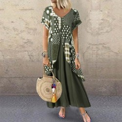 2020 ZANZEA  Maxi Long Dress Autumn Summer Dress Women Polka Dot Print Patchwork SundressPleated Plus Size Sexy V Neck Vestidos