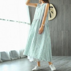 2020 ZANZEA Striped Shirt Dress Womens Sundress Female V Neck Summer Maxi Blue Dress Vintage Pleated Long Vestidos Robe Femme