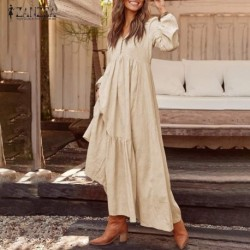 2020 ZANZEA Women Long Maxi Bohemian Dress Casual Pleated Pockets Buttons V Neck Party Vestidos Ladies Cotton Long Tunic Dresses