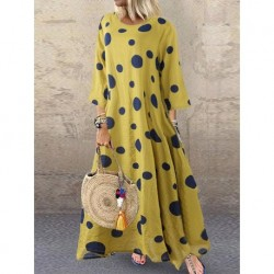 4xl 5xl boho cotton linen dress big size long maxi dress dot print plus size dress 2020 Autumn Winter women dresses large size