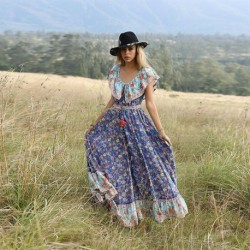 AECU 2019 Women Boho Long Dress Floral Printing Beach Maxi Dress Off Shoulder Vintage Big Pleated Dress Female Vestidos