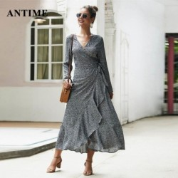 Antime Ruffles Wrap Maxi Dress Boho Long Sleeve Casual V Neck High Waist Autumn Winter Women Floral Print Dresses Vestidos