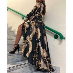 Autumn Fashion Boho Floral Print Split Vintage Long Sleeve Maxi Dress Beach Geometic Sundress Elegant Casual Baroque